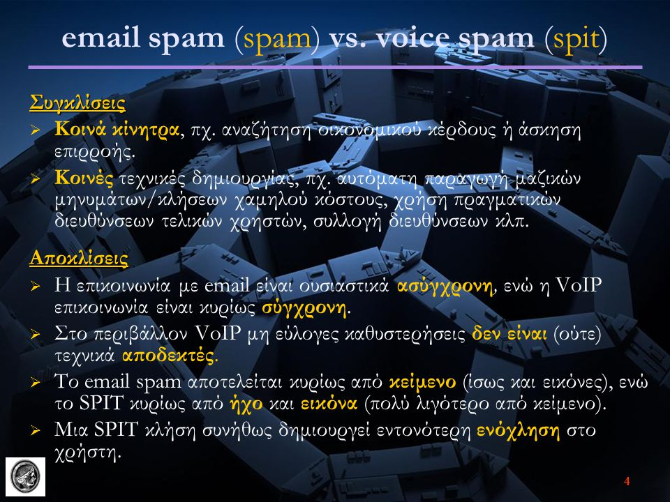 email spam (spam) vs. voice spam (spit)