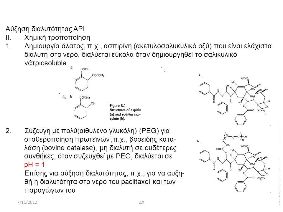 Αύξηση διαλυτότητας ΑΡΙ Χημική τροποποίηση