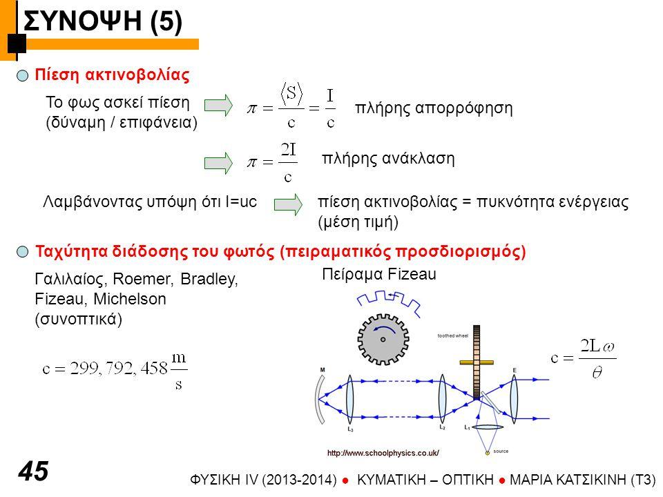 ΣΥΝΟΨΗ (5) 45 Πίεση ακτινοβολίας Το φως ασκεί πίεση