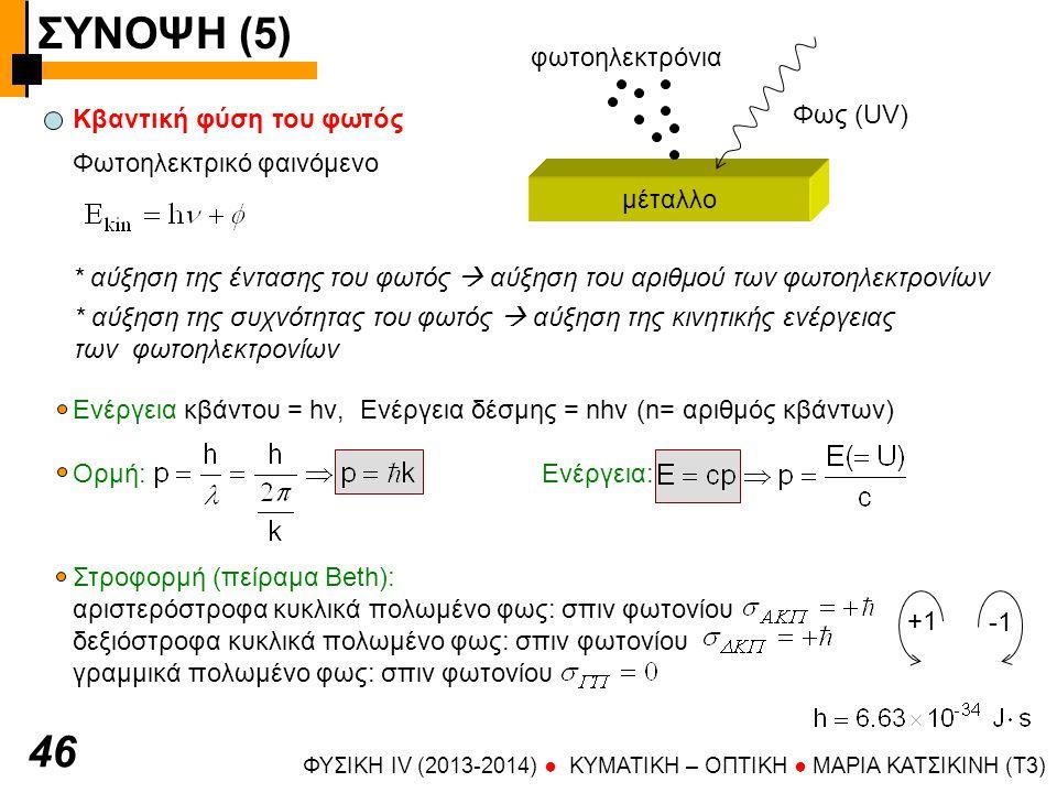 ΣΥΝΟΨΗ (5) 46 φωτοηλεκτρόνια Φως (UV) Κβαντική φύση του φωτός