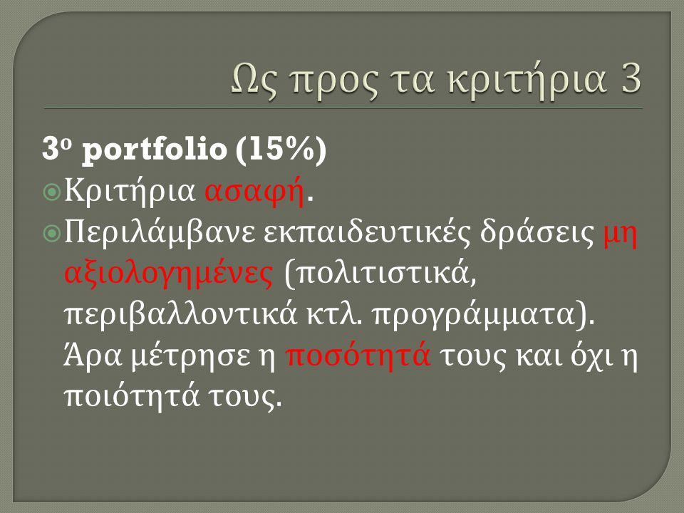 Ως προς τα κριτήρια 3 3ο portfolio (15%) Κριτήρια ασαφή.