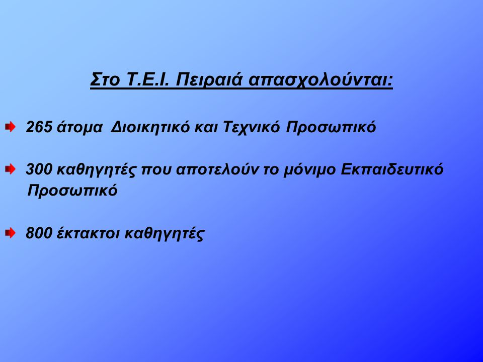 Στο Τ.Ε.Ι. Πειραιά απασχολούνται: