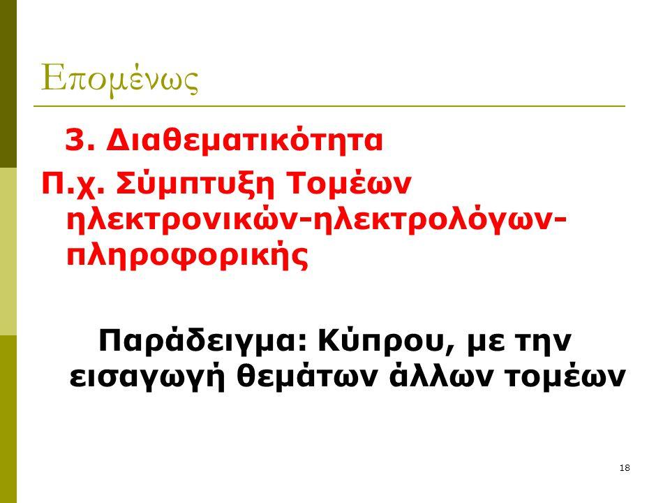 Παράδειγμα: Κύπρου, με την εισαγωγή θεμάτων άλλων τομέων