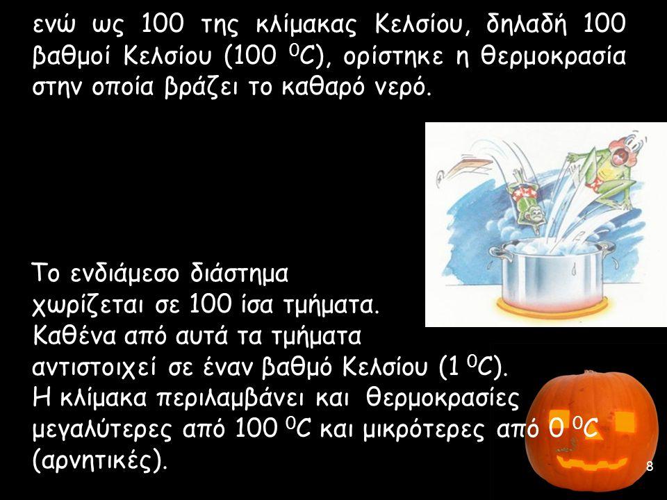 ενώ ως 100 της κλίμακας Κελσίου, δηλαδή 100 βαθμοί Κελσίου (100 0C), ορίστηκε η θερμοκρασία στην οποία βράζει το καθαρό νερό.