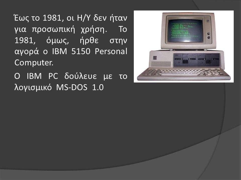 Έως το 1981, οι Η/Υ δεν ήταν για προσωπική χρήση
