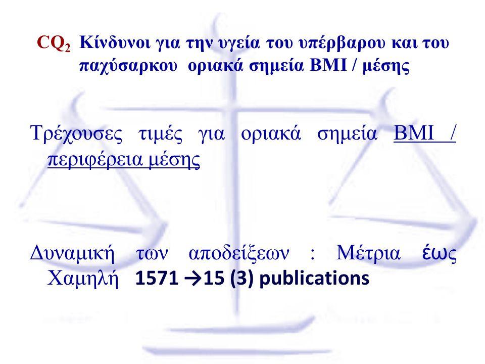Τρέχουσες τιμές για οριακά σημεία BMI / περιφέρεια μέσης