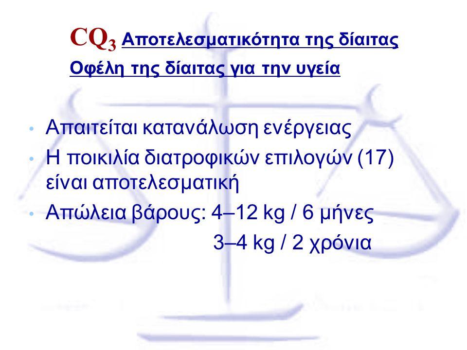 CQ3 Αποτελεσματικότητα της δίαιτας