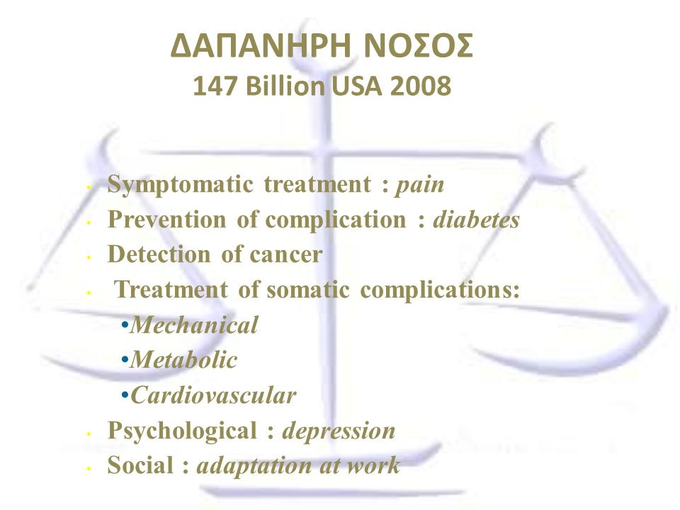 ΔΑΠΑΝΗΡΗ ΝΟΣΟΣ 147 Billion USA 2008 Symptomatic treatment : pain