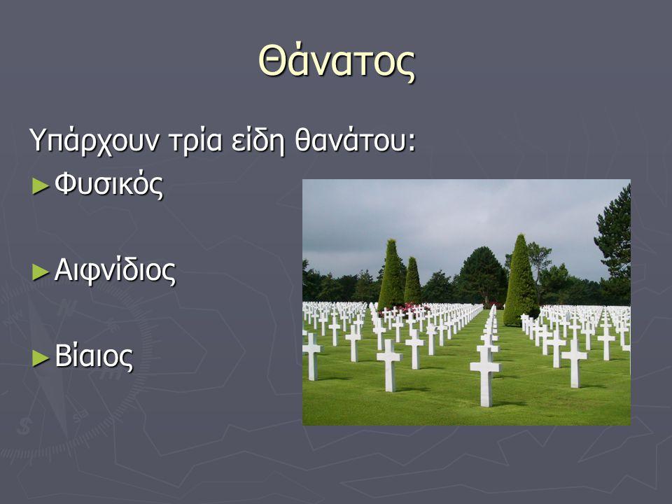 Θάνατος Υπάρχουν τρία είδη θανάτου: Φυσικός Αιφνίδιος Βίαιος