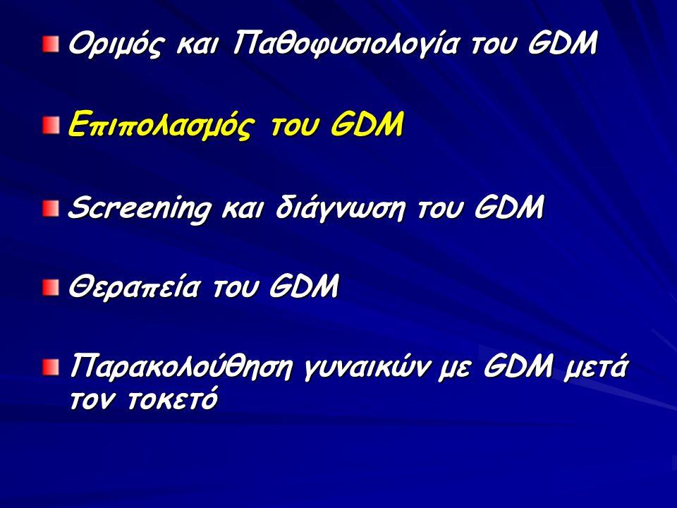 Επιπολασμός του GDM Οριμός και Παθοφυσιολογία του GDM