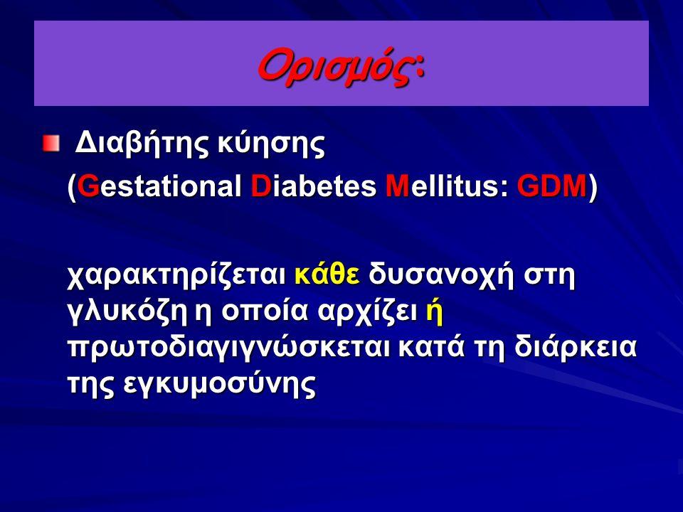 Ορισμός: Διαβήτης κύησης (Gestational Diabetes Mellitus: GDM)