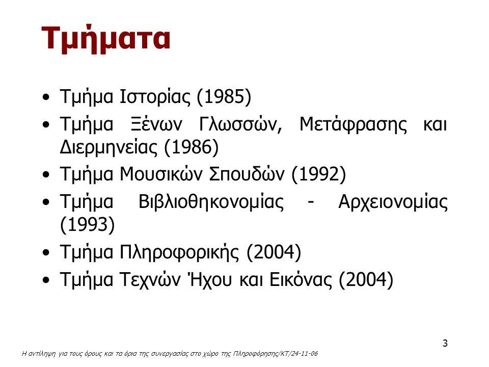 Τμήματα Tμήμα Iστορίας (1985)