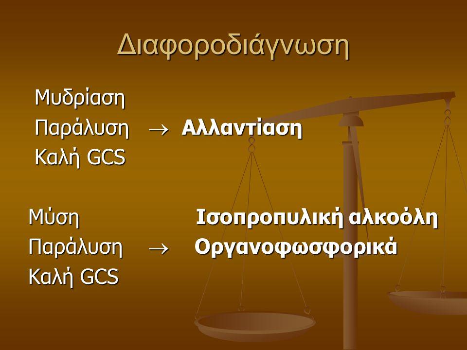 Διαφοροδιάγνωση Μυδρίαση Παράλυση  Αλλαντίαση Καλή GCS