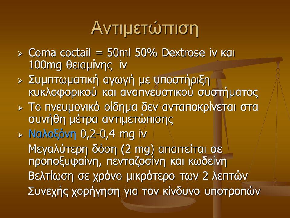 Αντιμετώπιση Coma coctail = 50ml 50% Dextrose iv και 100mg θειαμίνης iv. Συμπτωματική αγωγή με υποστήριξη κυκλοφορικού και αναπνευστικού συστήματος.