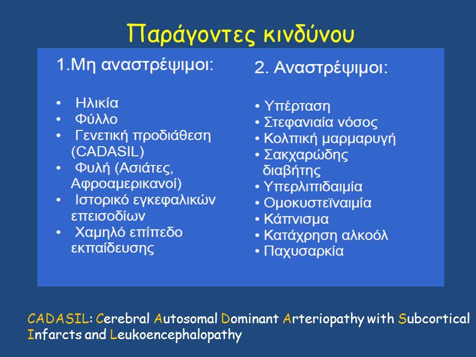 Παράγοντες κινδύνου CADASIL: Cerebral Autosomal Dominant Arteriopathy with Subcortical Infarcts and Leukoencephalopathy.