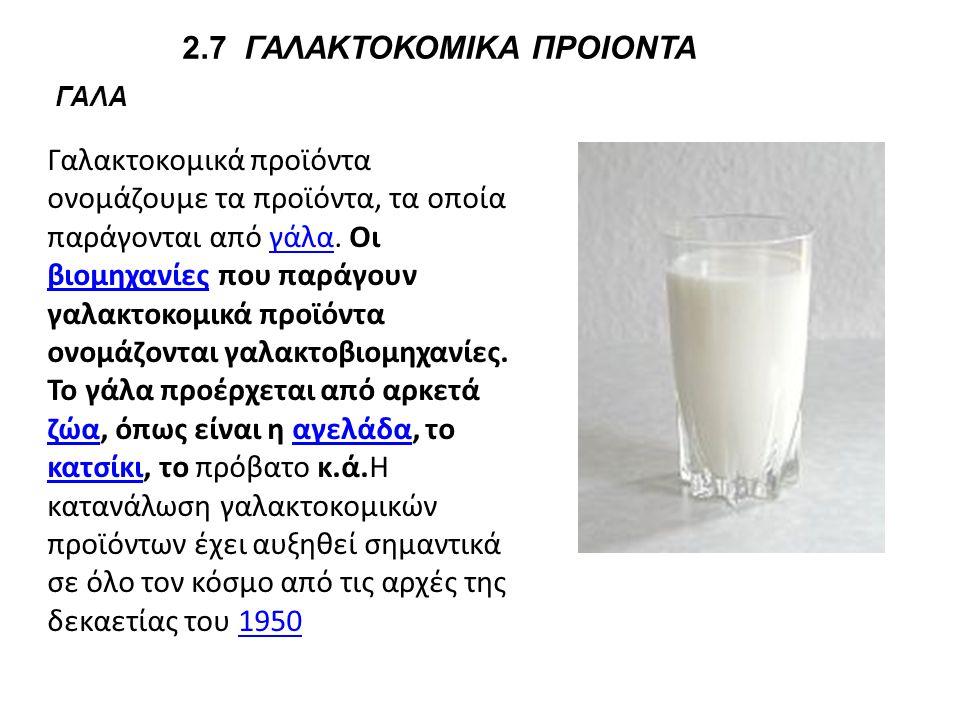2.7 ΓΑΛΑΚΤΟΚΟΜΙΚΑ ΠΡΟΙΟΝΤΑ