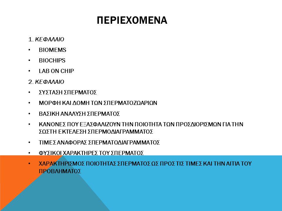 περιεχομενα 1. ΚΕΦΑΛΑΙΟ BIOMEMS BIOCHIPS LAB ON CHIP 2. ΚΕΦΑΛΑΙΟ