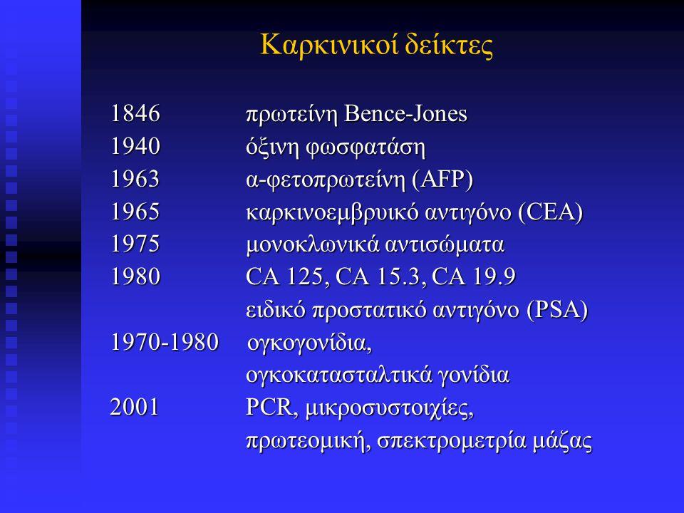 Καρκινικοί δείκτες 1846 πρωτείνη Bence-Jones 1940 όξινη φωσφατάση