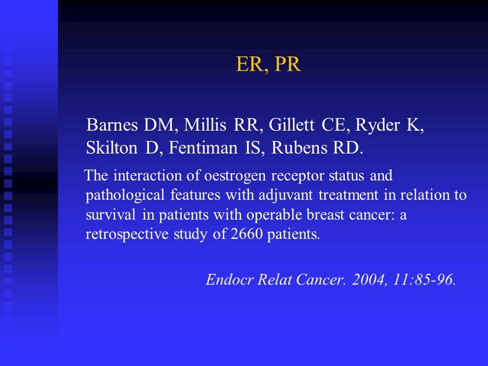 ER, PR Barnes DM, Millis RR, Gillett CE, Ryder K, Skilton D, Fentiman IS, Rubens RD.
