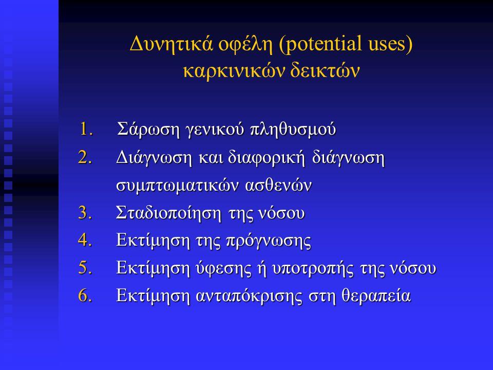Δυνητικά οφέλη (potential uses) καρκινικών δεικτών