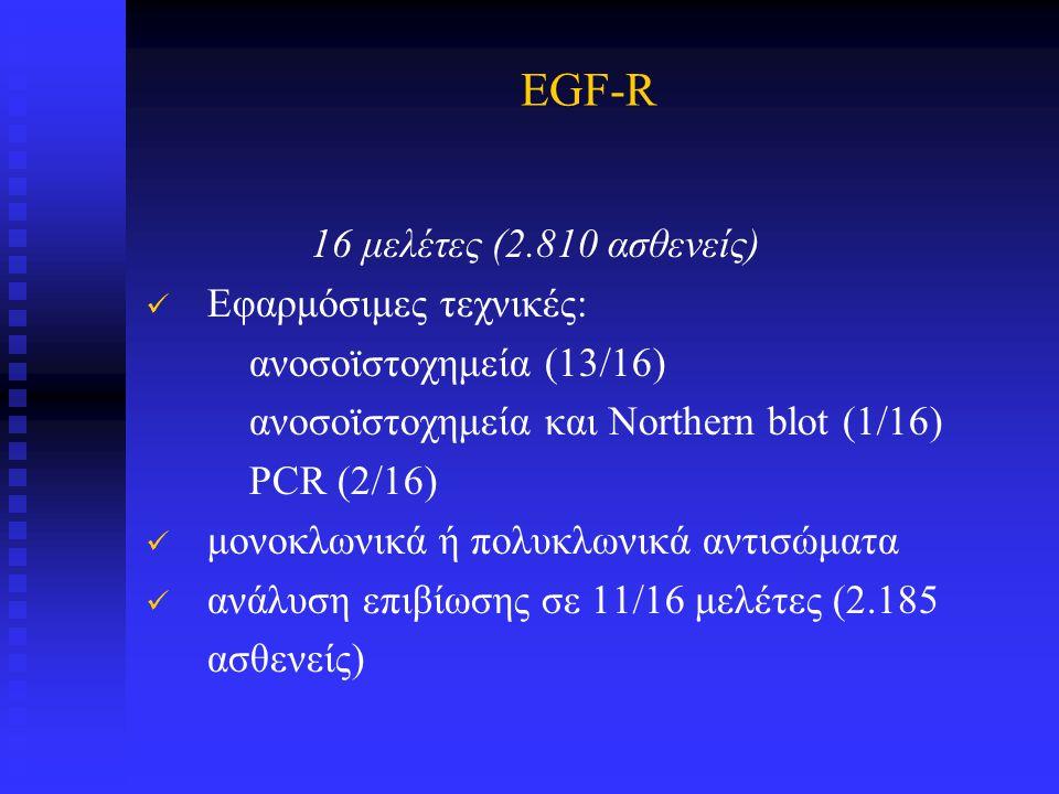 EGF-R 16 μελέτες (2.810 ασθενείς) Εφαρμόσιμες τεχνικές: