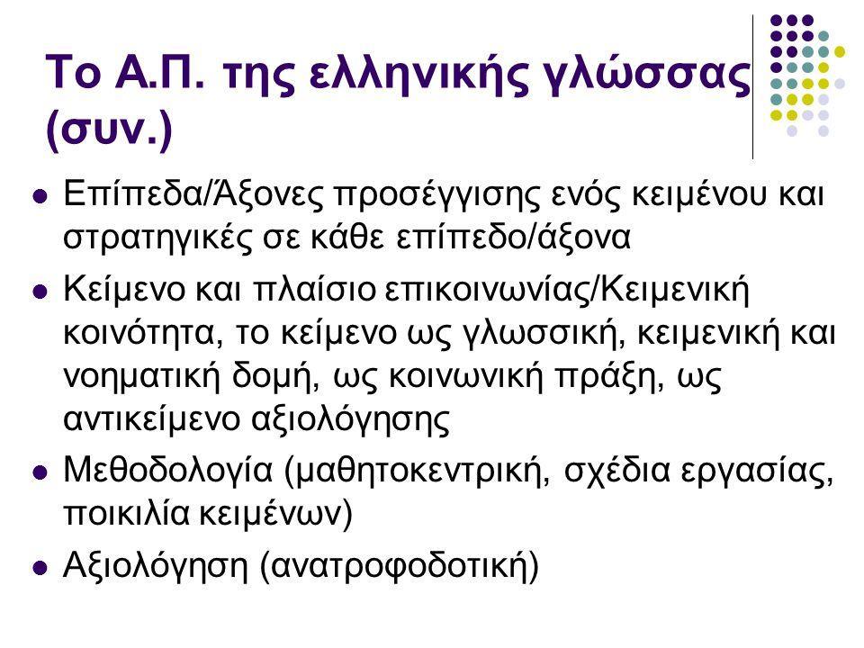 Το Α.Π. της ελληνικής γλώσσας (συν.)