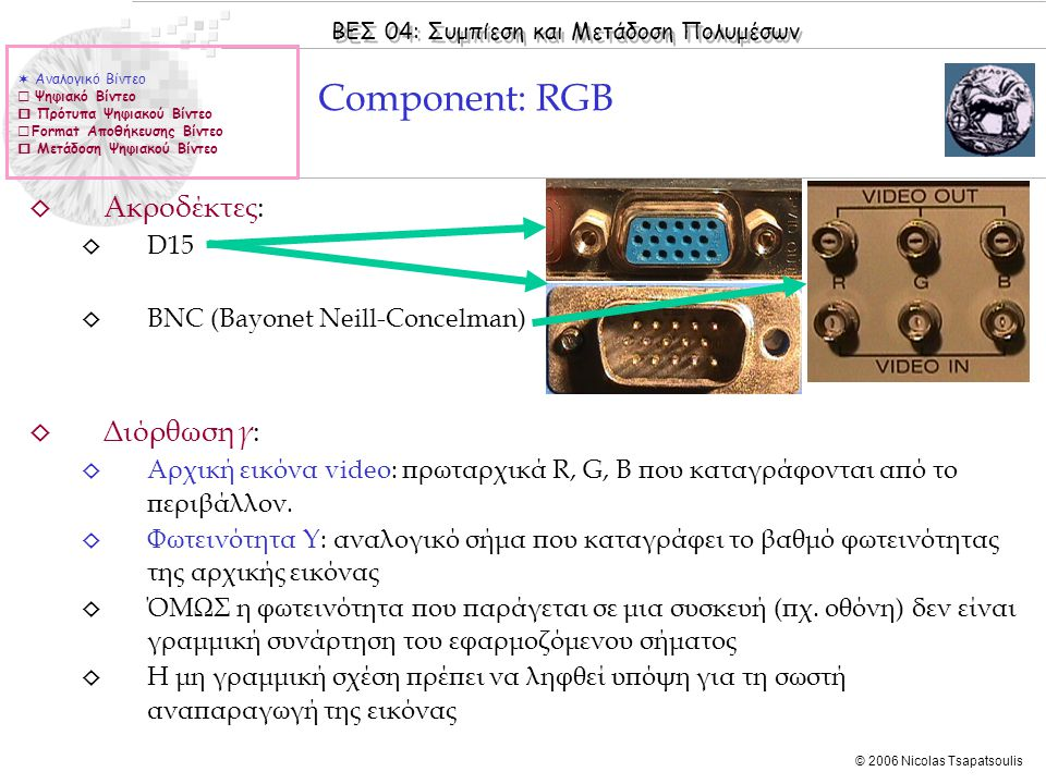 Component: RGB Ακροδέκτες: Διόρθωση γ: D15