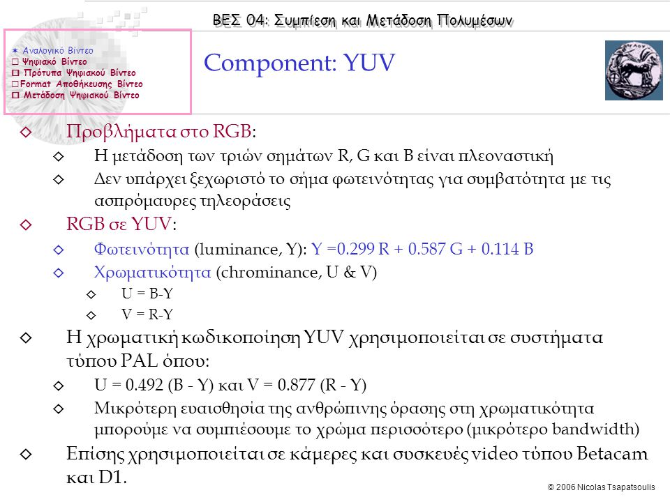 Component: YUV Προβλήματα στο RGB: RGB σε YUV: