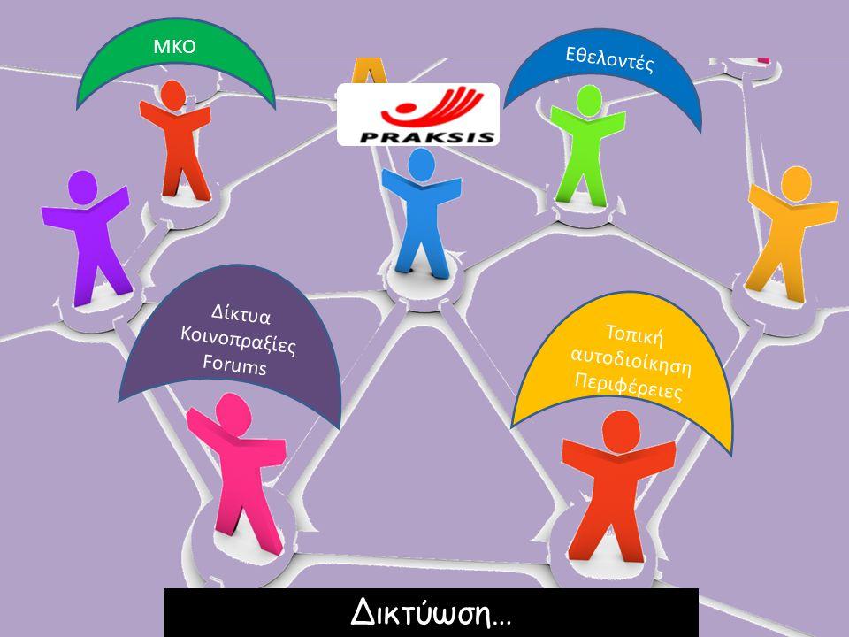 Δικτύωση… ΜΚΟ Εθελοντές Δίκτυα Κοινοπραξίες Forums Τοπική αυτοδιοίκηση
