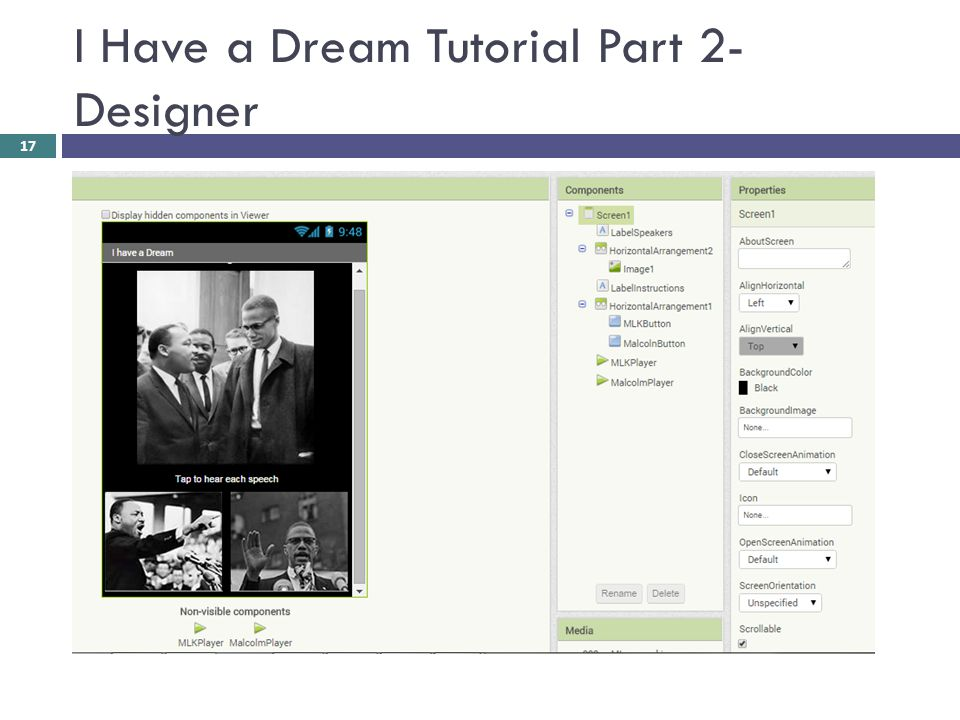 I Have a Dream Tutorial Part 2- Designer