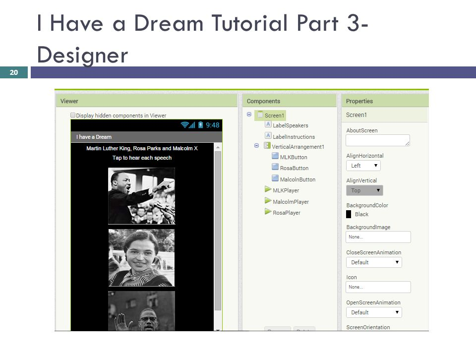 I Have a Dream Tutorial Part 3- Designer