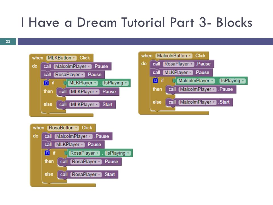 I Have a Dream Tutorial Part 3- Blocks