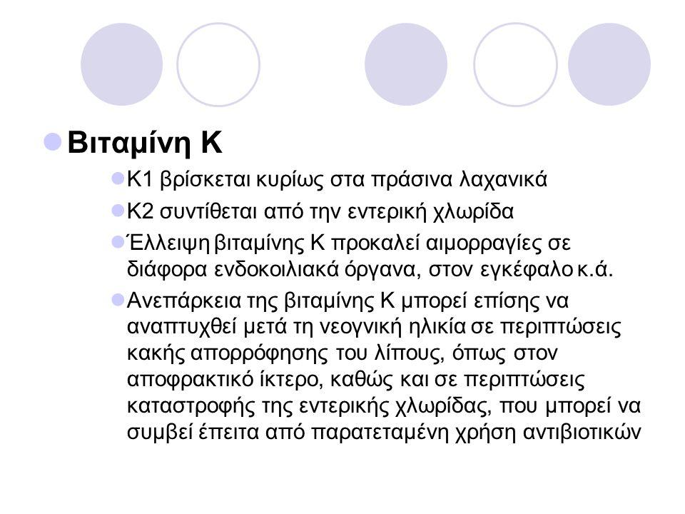 Βιταμίνη Κ Κ1 βρίσκεται κυρίως στα πράσινα λαχανικά