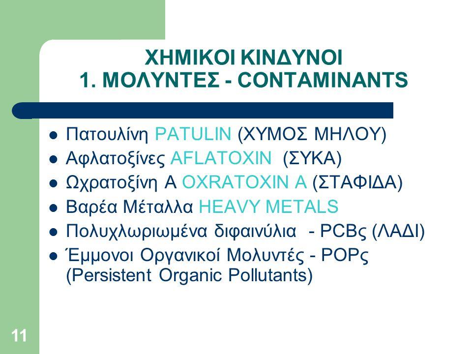 ΧΗΜΙΚΟΙ ΚΙΝΔΥΝΟΙ 1. ΜΟΛΥΝΤΕΣ - CONTAMINANTS