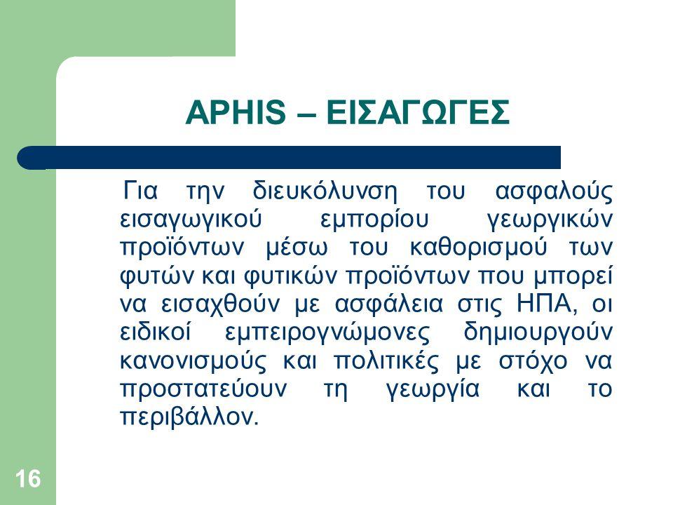 APHIS – ΕΙΣΑΓΩΓΕΣ