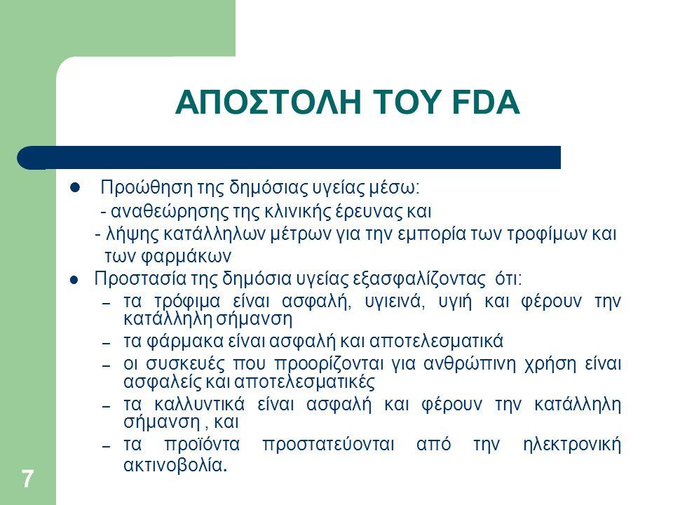 ΑΠΟΣΤΟΛΗ ΤΟΥ FDA Προώθηση της δημόσιας υγείας μέσω:
