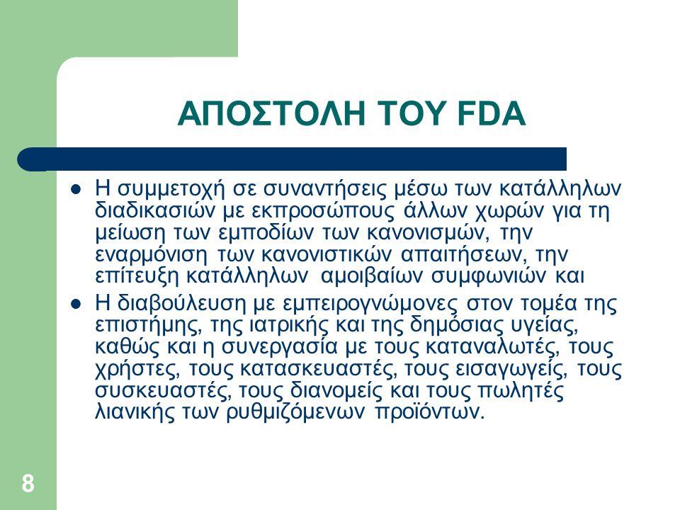 ΑΠΟΣΤΟΛΗ ΤΟΥ FDA