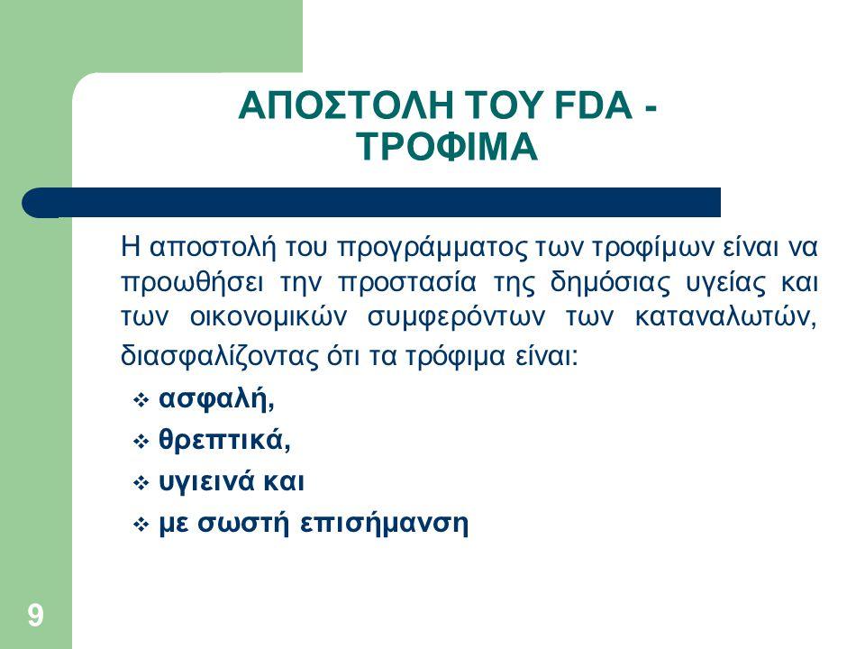 ΑΠΟΣΤΟΛΗ ΤΟΥ FDA - ΤΡΟΦΙΜΑ