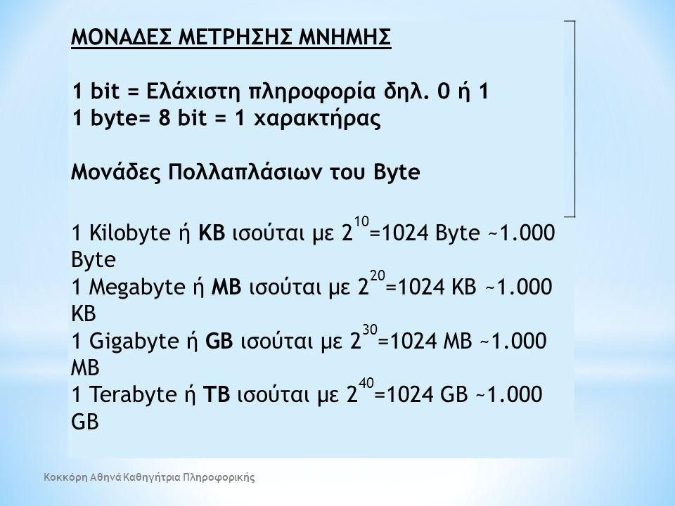 ΜΟΝΑΔΕΣ ΜΕΤΡΗΣΗΣ ΜΝΗΜΗΣ 1 bit = Ελάχιστη πληροφορία δηλ. 0 ή 1
