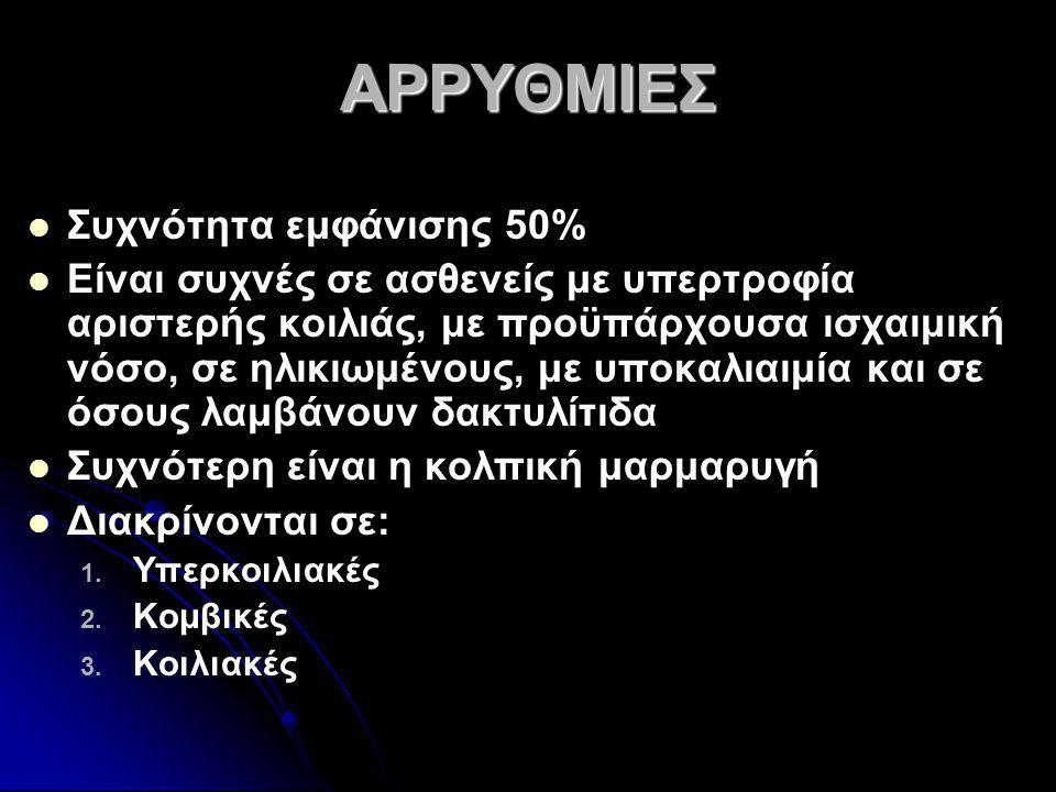 ΑΡΡΥΘΜΙΕΣ Συχνότητα εμφάνισης 50%