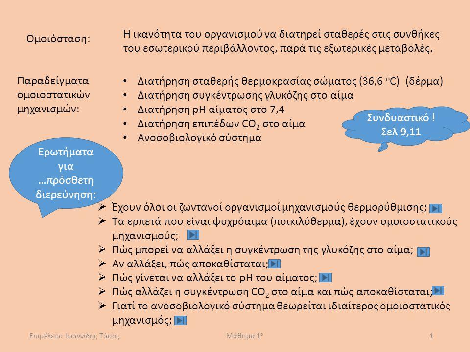 Παραδείγματα ομοιοστατικών μηχανισμών:
