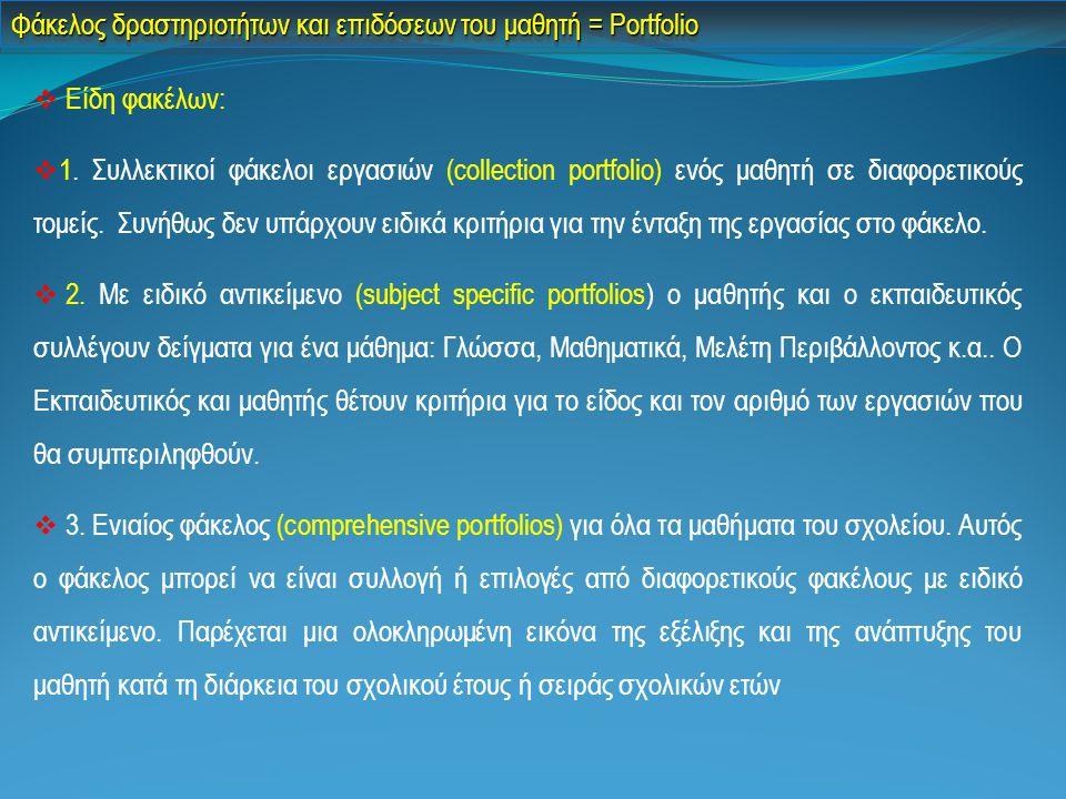 Φάκελος δραστηριοτήτων και επιδόσεων του μαθητή = Portfolio