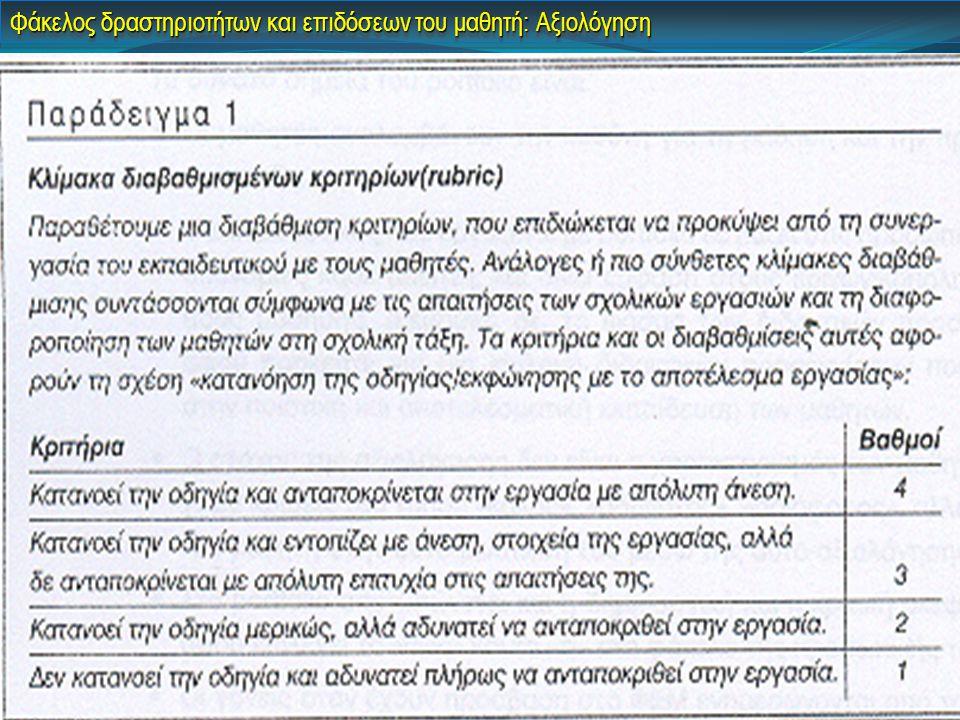 Φάκελος δραστηριοτήτων και επιδόσεων του μαθητή: Αξιολόγηση