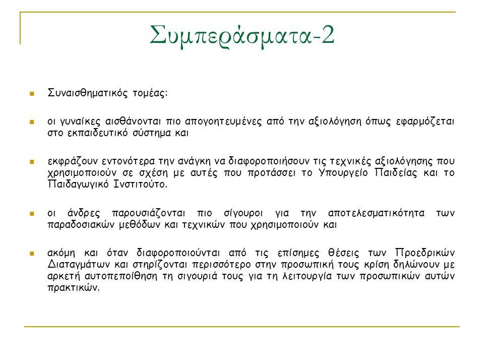 Συμπεράσματα-2 Συναισθηματικός τομέας: