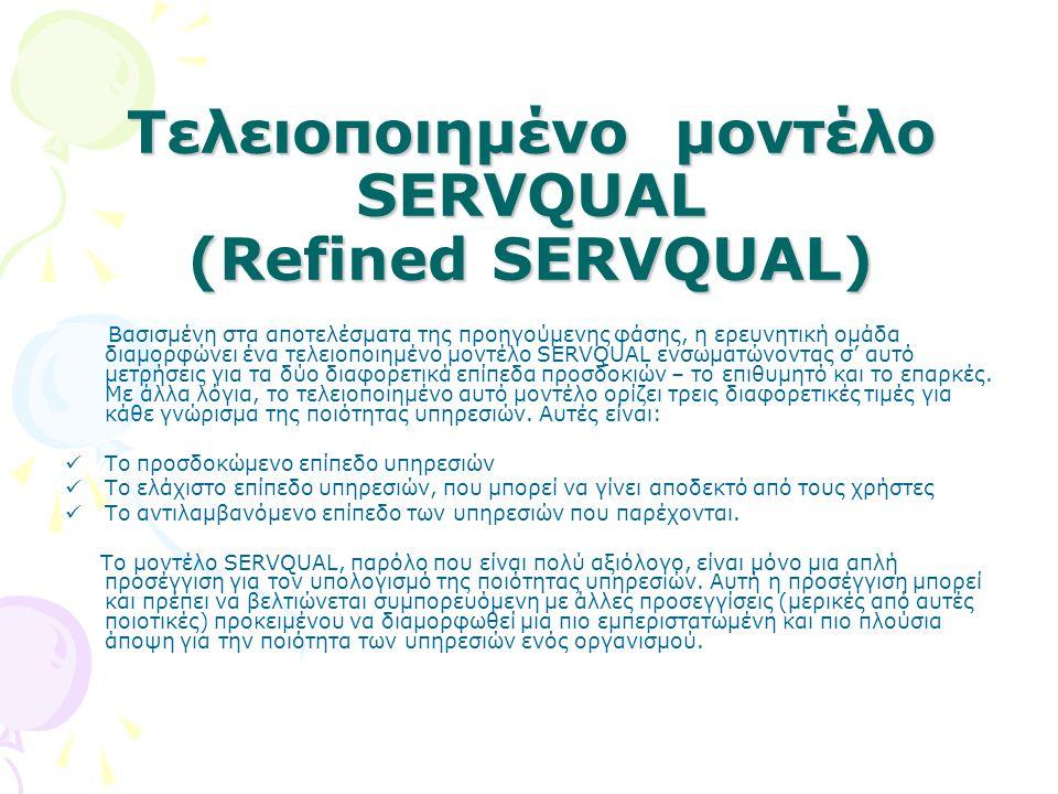 Τελειοποιημένο μοντέλο SERVQUAL (Refined SERVQUAL)