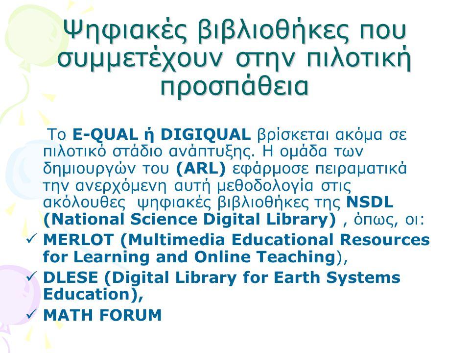 Ψηφιακές βιβλιοθήκες που συμμετέχουν στην πιλοτική προσπάθεια