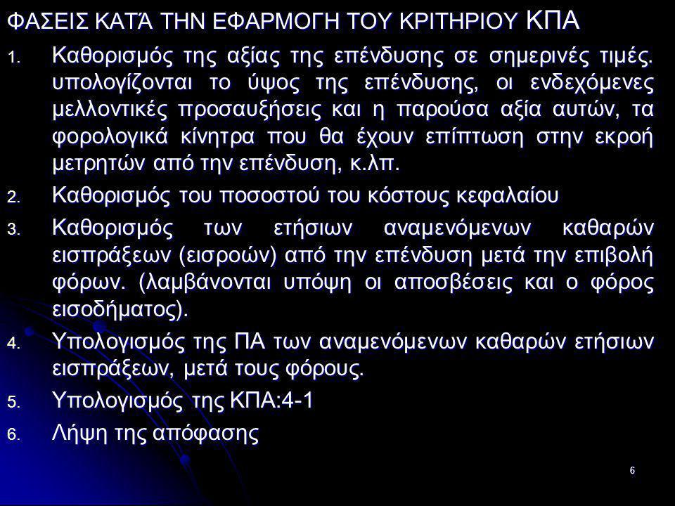 ΦΑΣΕΙΣ ΚΑΤΆ ΤΗΝ ΕΦΑΡΜΟΓΗ ΤΟΥ ΚΡΙΤΗΡΙΟΥ ΚΠΑ