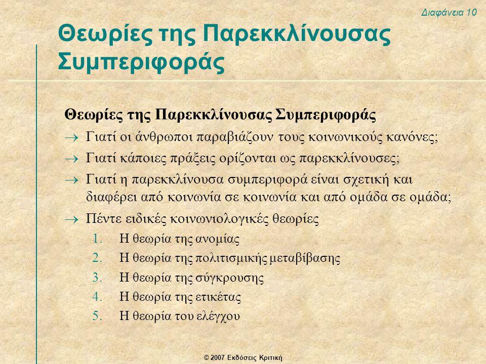 Θεωρίες της Παρεκκλίνουσας Συμπεριφοράς