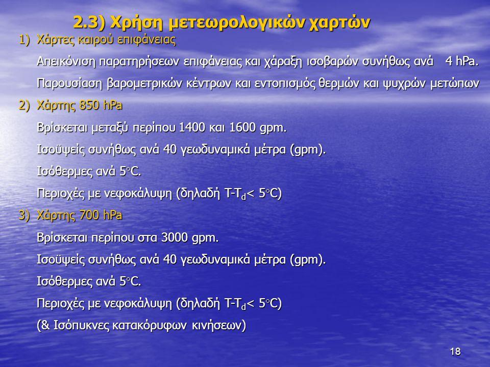 2.3) Χρήση μετεωρολογικών χαρτών