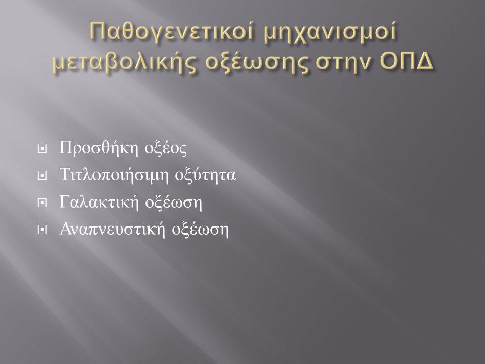 Παθογενετικοί μηχανισμοί μεταβολικής οξέωσης στην ΟΠΔ
